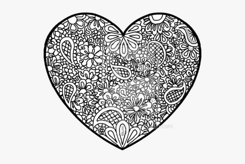 - Transparent Stock Doodle Art Coloring Pages Zentangle - Abstract Heart Coloring  Pages Transparent PNG - 600x495 - Free Download On NicePNG