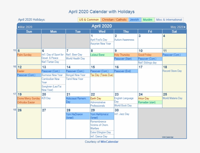 August 2019 Calendar With Holidays.April 2020 Printable Calendar With Us Holidays Including August
