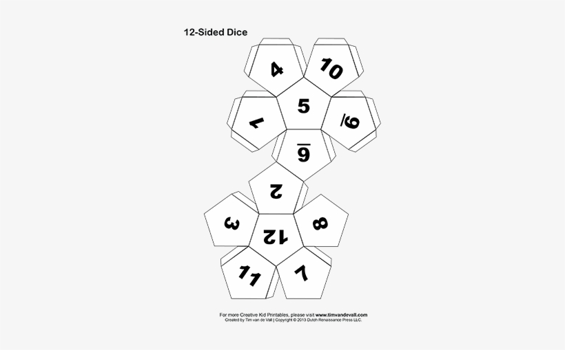 printable 12 sided paper dice bw tab 350w 12 sided dice paper