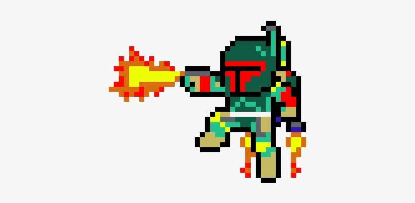 Pixel Art Boba Fett Pärlplattor Star Wars Boba Fett Transparent
