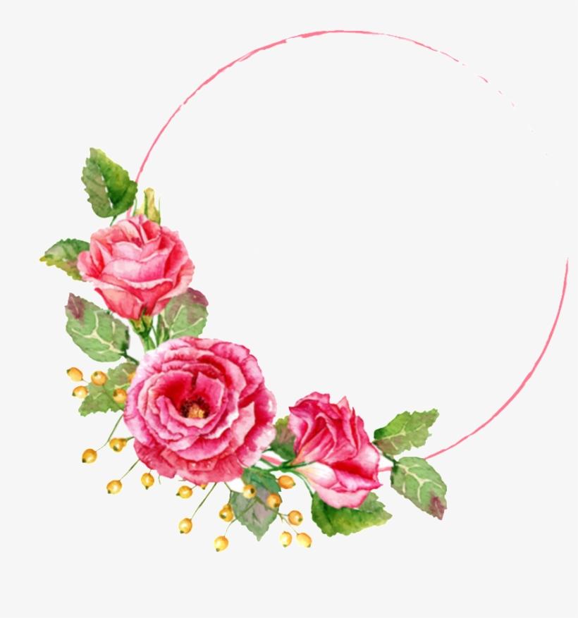 Românticas Rosas Vermelhas Pintadas Com Decorações Floral Frame