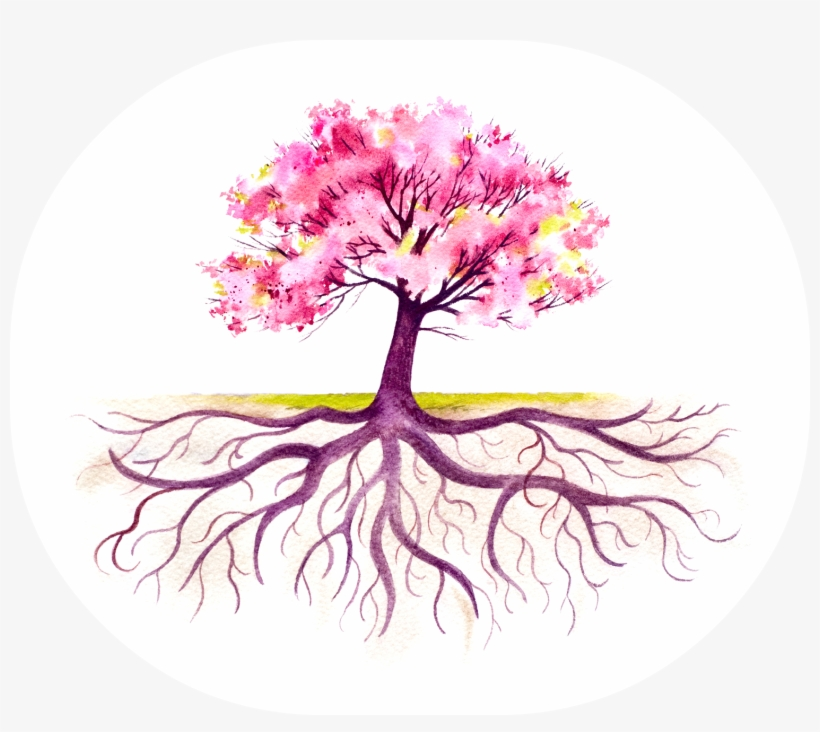 Tree Tattoo Arbol De Cerezo Con Raices Transparent Png 1508x1273