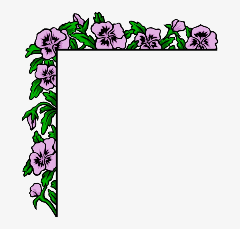 Vector Illustration Of Purple Flowers Border - Poem On Mother In