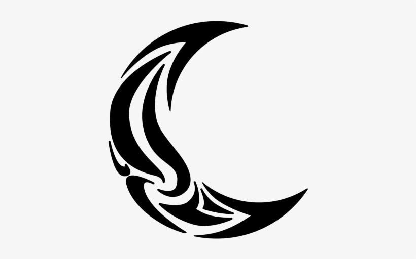 Tribal Moon Tattoo Tribal Crescent Moon Transparent Png 450x450