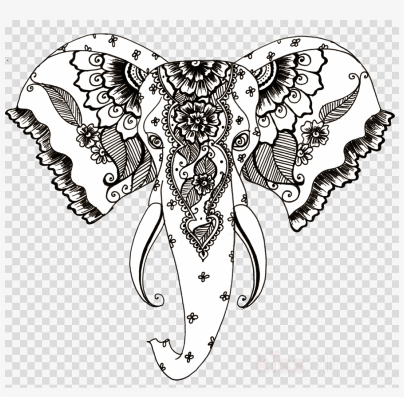 Elephant Drawing Henna Clipart Henna Mehndi Clip Art , Draw