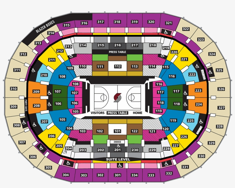 Arena Portland Trail Blazers Seating Chart Transparent Png