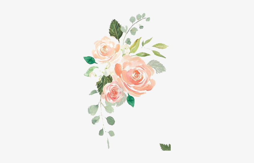 Watercolor Wreathes And Flowers Png - Peach Bridal Shower