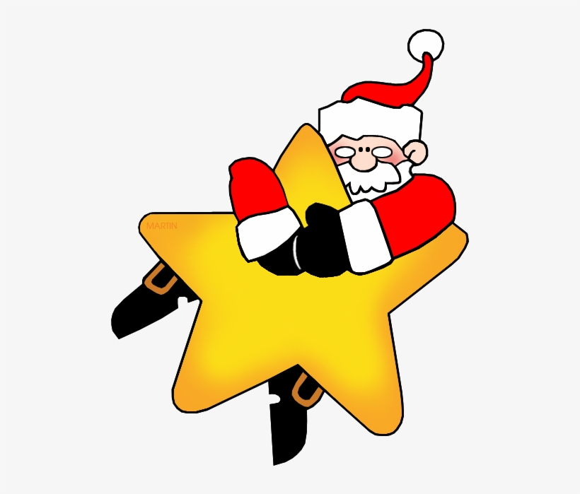 Christmas Clip Art By Phillip Martin, Santa On A Star - Clipart Christmas Star