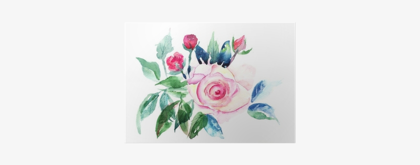 Decorative Roses Flowers Watercolor Painting Poster Watercolor