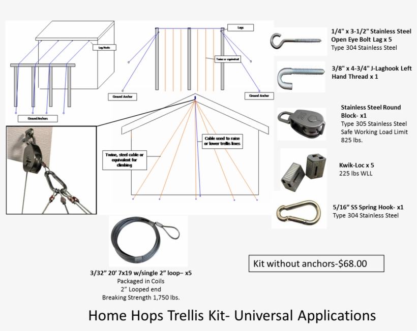 Universal Home Hops Trellis Kit With Steel Cable - Design