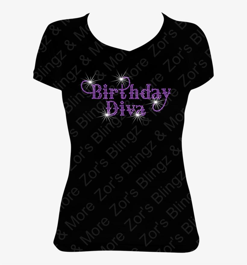 Birthday Diva Rhinestone Design T Shirt