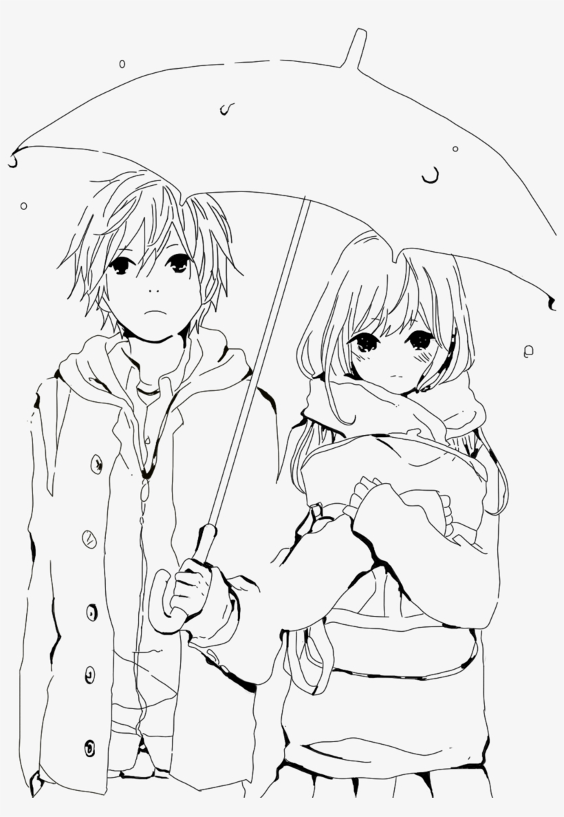 Boy and girl love drawing at getdrawings anime couple colouring pages