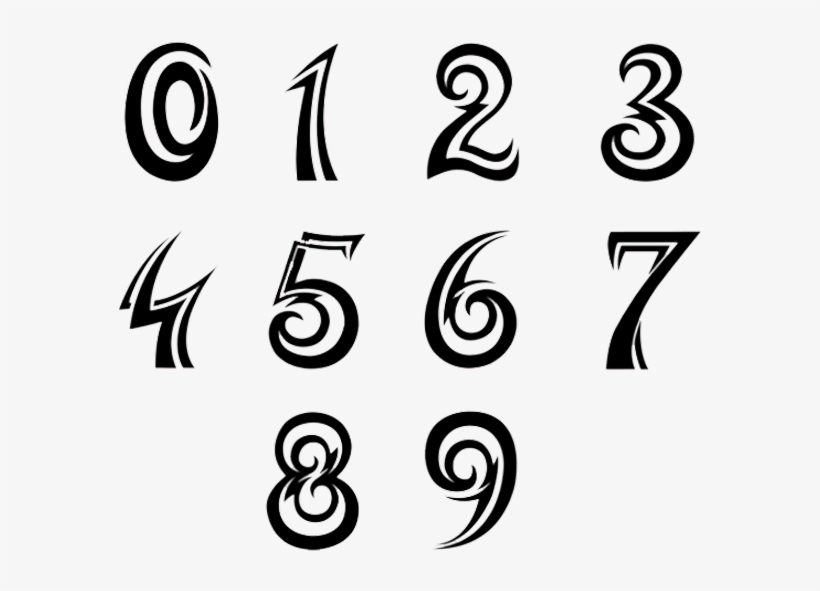 Numbers Font Tattoo Design , Tribal Number Fonts Transparent