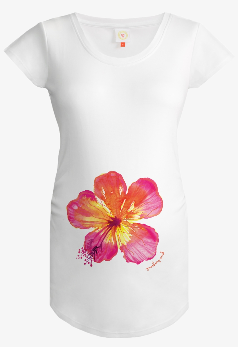 a7300e58c2806 Gooseberry Pink Tropical Flower Maternity Top In White - Top ...