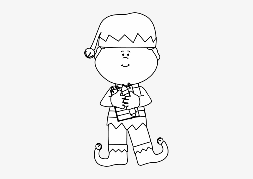 Black And White Black And White Boy Christmas Elf Christmas Elf Clipart Black And White Transparent Png 273x500 Free Download On Nicepng