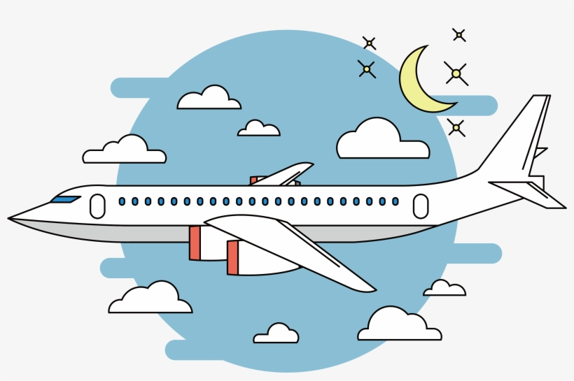 Night Sky Clipart Transparent Airplane Cartoon Png Transparent
