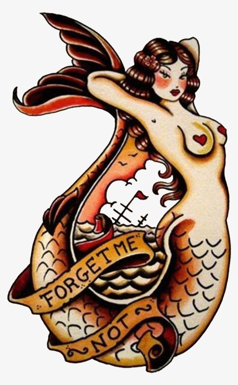 Sailor Jerry Tattoo Forget Me Not Mermaid Vulture Sailor Jerry Tattoos Transparent Png 950x1280 Free Download On Nicepng