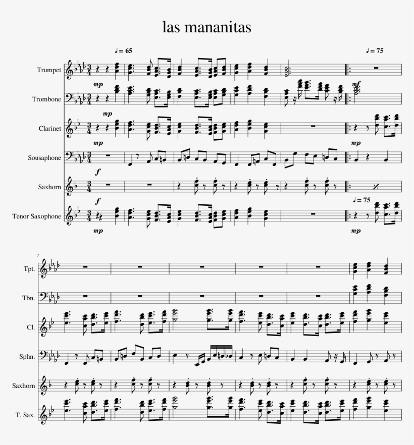 Las Mananitas Sheet Music For Clarinet, Trumpet, Trombone, - Trumpet