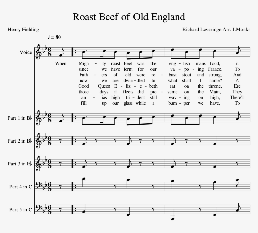 Roast Beef Of Old England Sheet Music For Voice, Trumpet