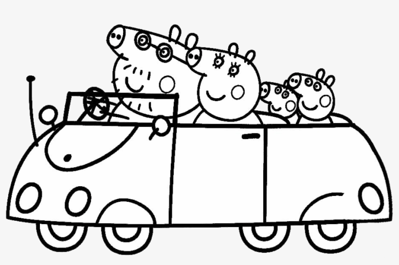 Peppa Pigs Car Coloring Pages Transparent Png 1105x622 Free Download On Nicepng
