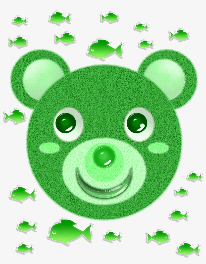 Green Bear Face And Fish - Leaf Transparent PNG - 1200x1500