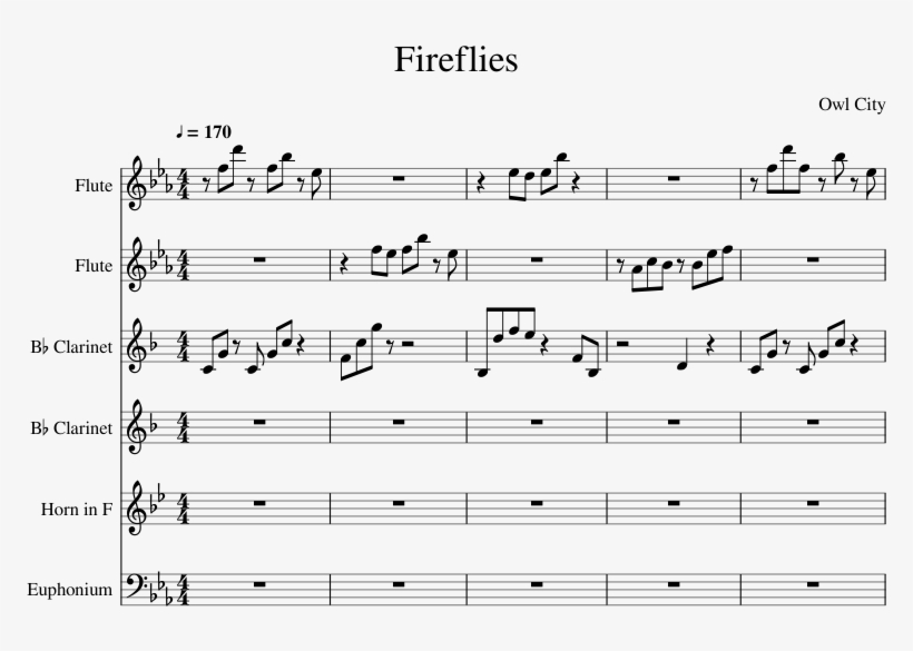 Fireflies Arranged By Ehung Sheet Music For Flute, - Like