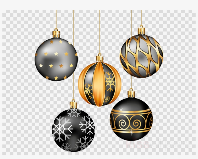Download Black And Gold Christmas Ornaments Clipart - Christmas Decorations Black And Gold