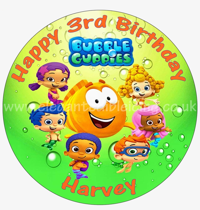Bubble Guppies Green Personalised Edible Round Cake - Bubble