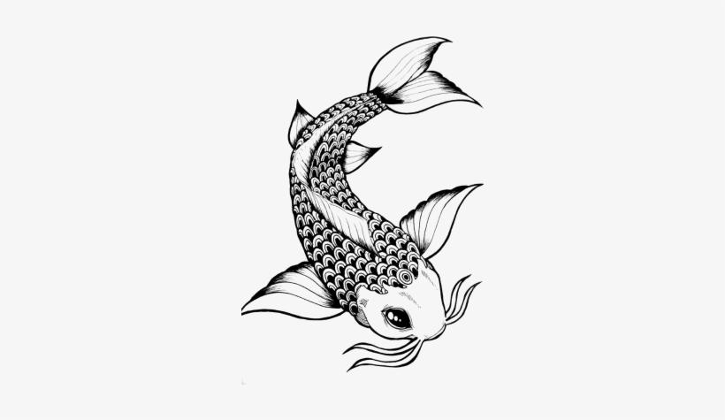 Elegant Drawing Koi Fish Transparent Stock Koi Fish Black And White Transparent Png 300x404 Free Download On Nicepng