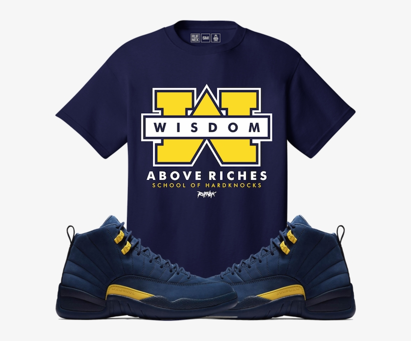 93b0b7d3e592 Jordan Retro 12 Michigan Sneaker Tees Shirt - Shirts Match To Jordan 12  Michigan