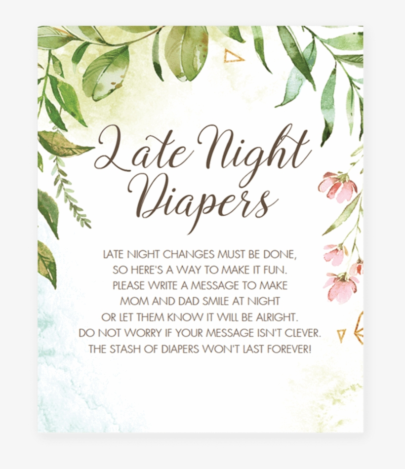 picture regarding Late Night Diapers Free Printable identified as Watercolor Environmentally friendly And Purple Little one Shower Match Late - Wager