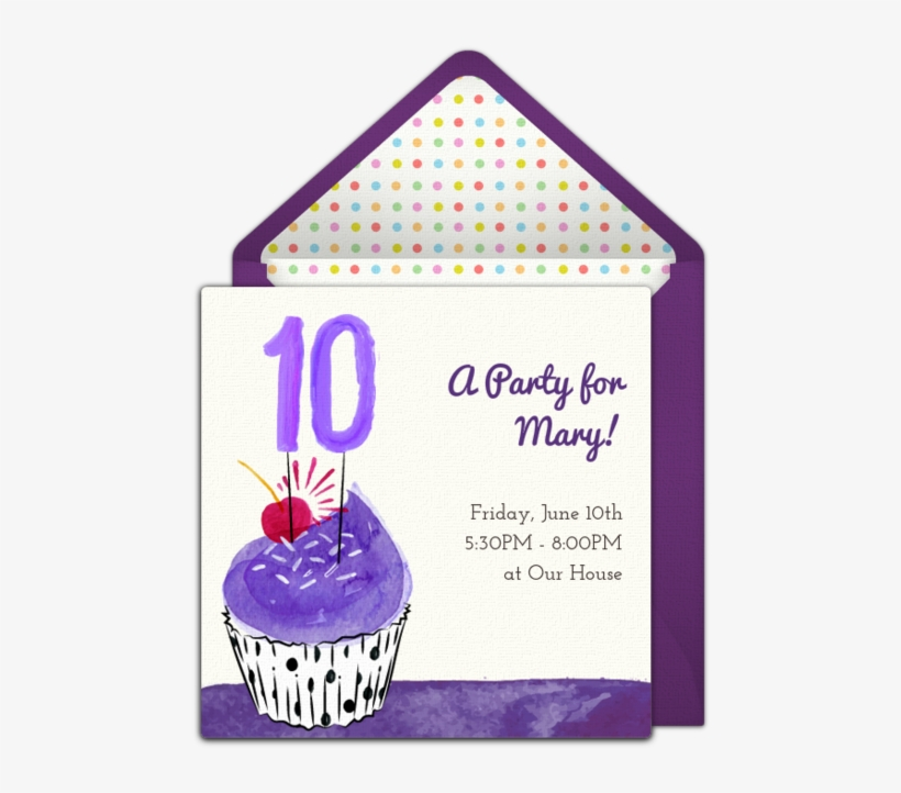 Free 10th Birthday Party Invitation With A Cute Cupcake