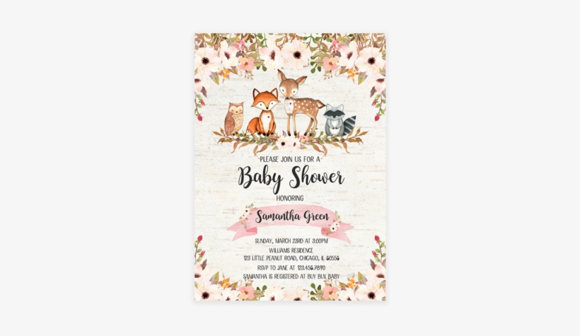 Floral Woodland Baby Shower Invitation Printable Woodland