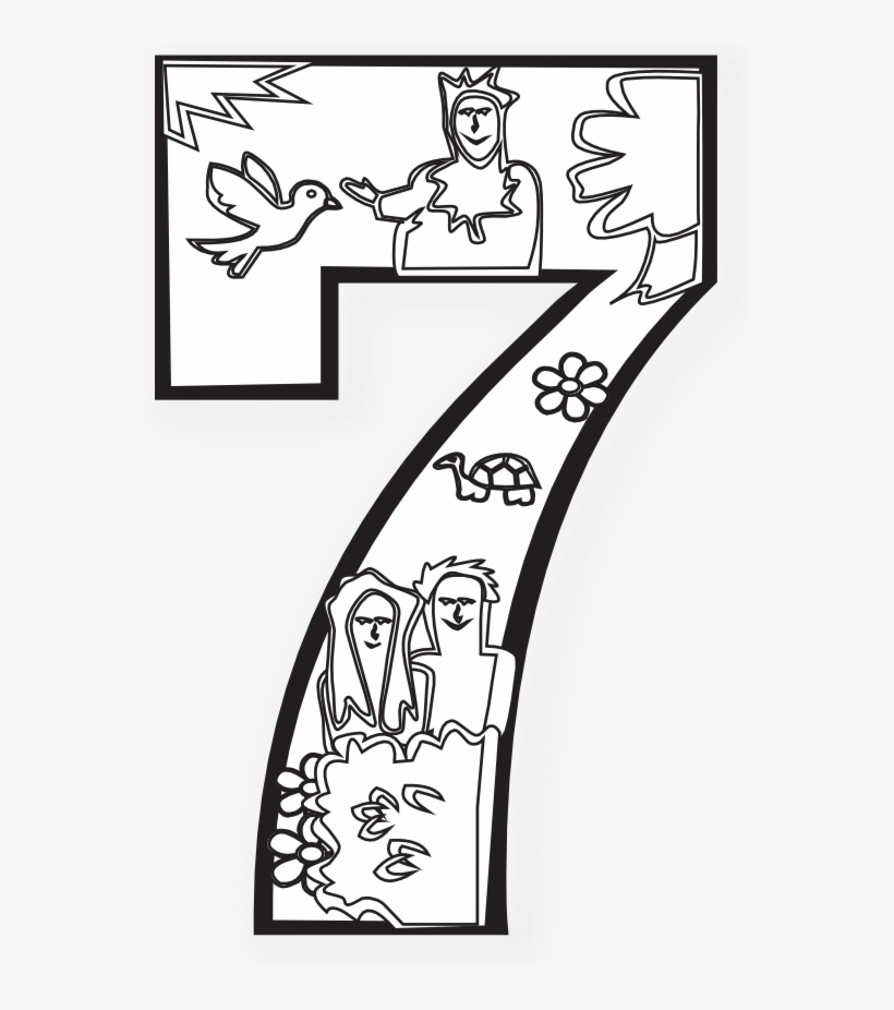 Creation Days Numbers Black White - Seventh Day Of Creation Coloring Page  Transparent PNG - 555x846 - Free Download On NicePNG