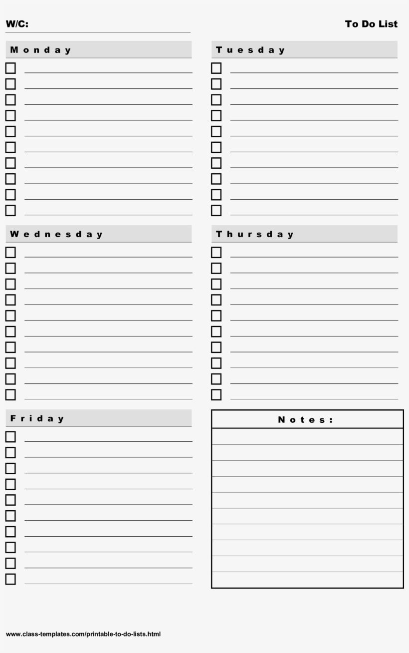 photo about Weekly to Do List Printable identify Printable Toward Do Listing 5 Times Weekly Program Key Graphic - Do This
