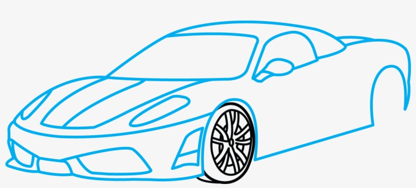 How To Draw Ferrari Sports Car Drawing Easy Transparent Png
