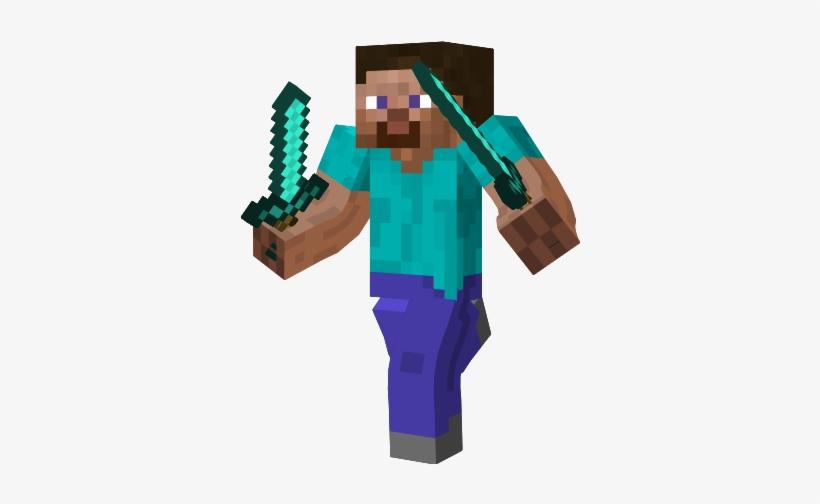 Steve Minecraft With Diamond Sword Transparent Png 339x433