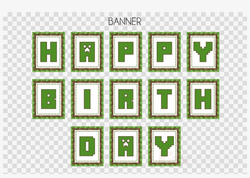 Minecraft Happy Birthday Banner Printable Clipart Minecraft Transparent Png 900x600 Free Download On Nicepng