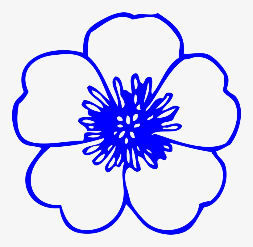 Help For Immigrants Royal Blue Flowers Clipart