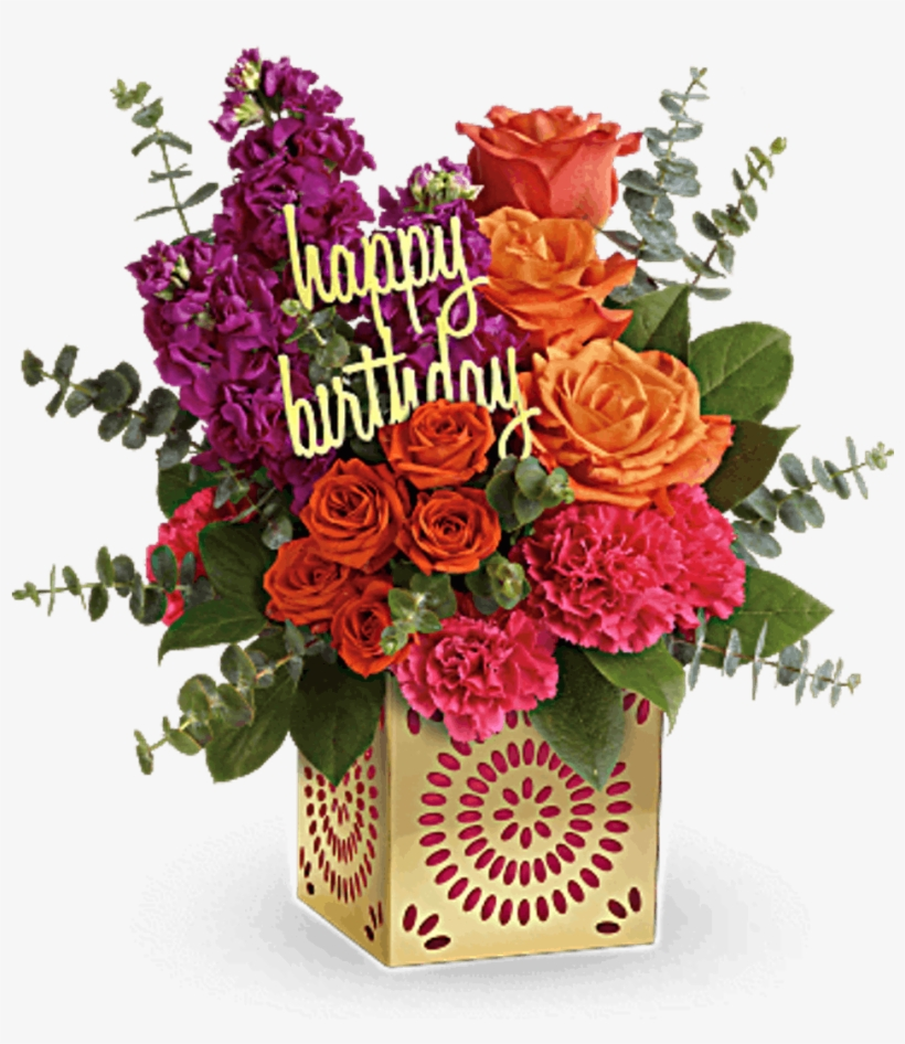 Flower Bouquet Of Orange Roses Fuchsia Stock And Pink Birthday Flowers Transparent Png 368x460 Free Download On Nicepng
