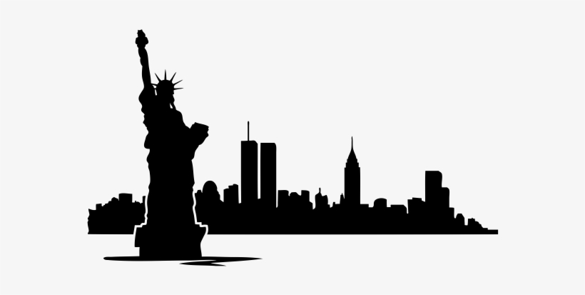 New York Rubber Stamp - Silhouette New York Skyline With Twin Towers Transparent PNG - 600x600 - Free Download on NicePNG