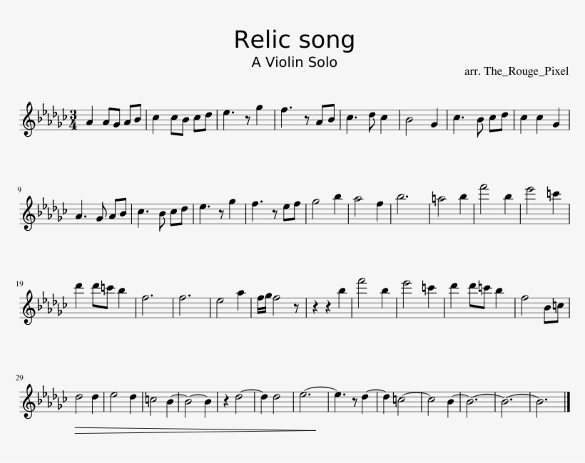 Relic Song Sheet Music Composed By Arr - Mii Song Violin Sheet Music