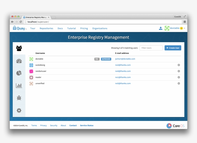 Quay Enterprise Management Panel - Github Enterprise User