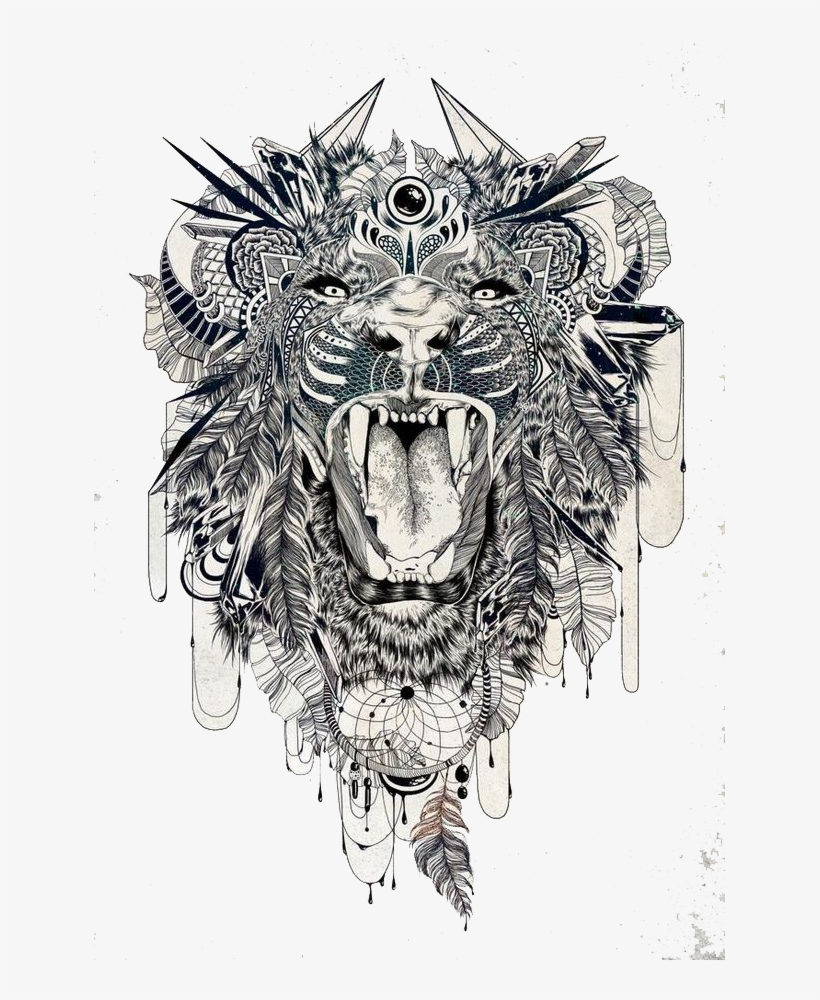 Tattoo Sleeve Tiger Lion Beast Lower Back Clipart Ethnic Lion