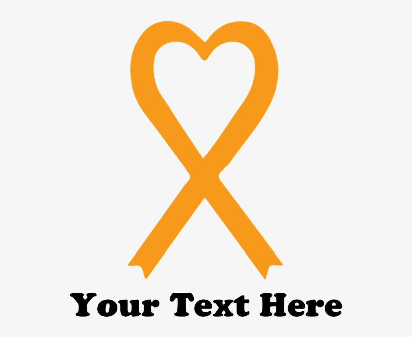 8070a091448 Personalized Orange Awareness Ribbon Banner - Heart Transparent PNG ...