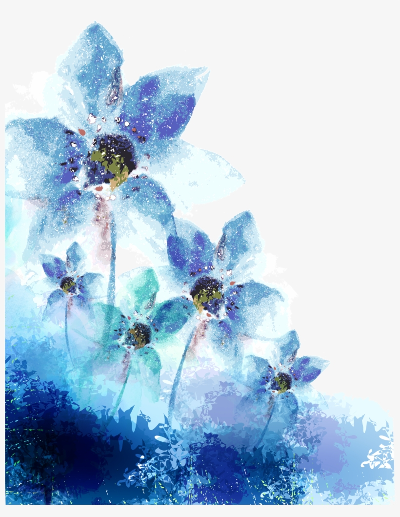 Blue Watercolor Flower Png Vector Royalty Free Library