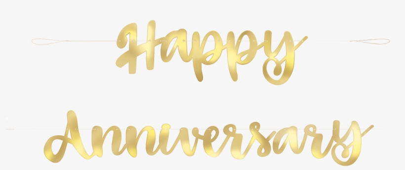 photograph about Happy Anniversary Banner Free Printable known as Delighted Anniversary Script Banner Gold - Calligraphy