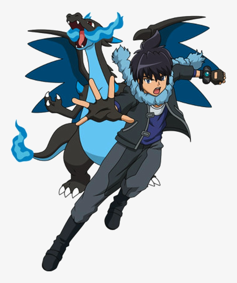 Alain Alain And Mega Charizard X Transparent Png 750x912