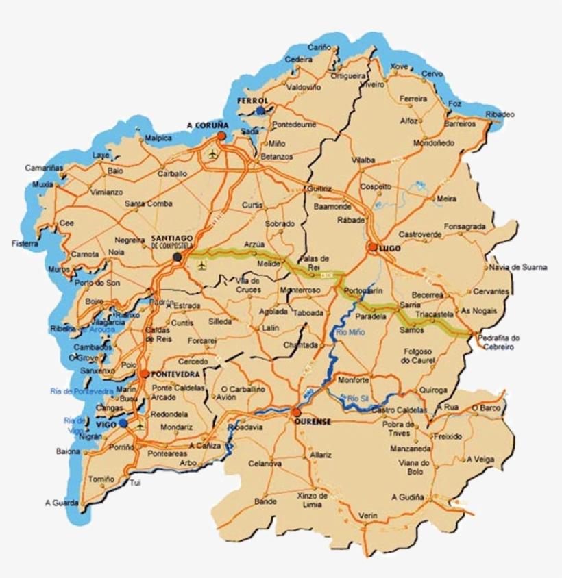 Mapa De Carreteras Galicia.Mapa De Galicia Carreteras 2016 Transparent Png 1000x964