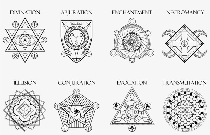 Magic Spell Generator - Dnd Schools Of Magic Symbols Transparent PNG